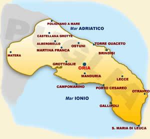 Brindisi Cartina Geografica.Raggiungere Oria Bottega Oriamia